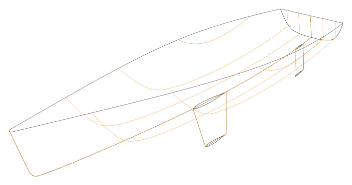 Sailing yacht hull - 3D model with buttocks