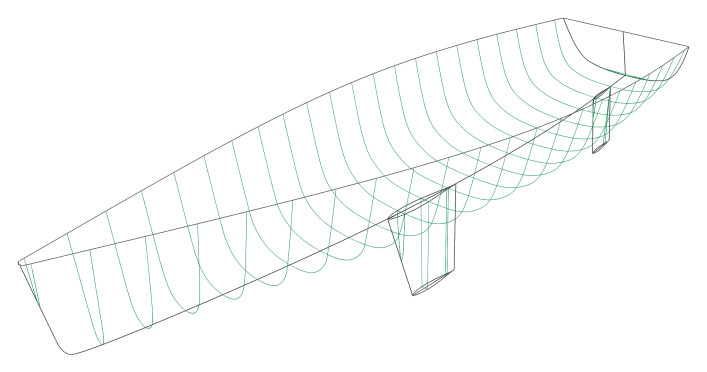 Sailing yacht hull - 3D model with sections