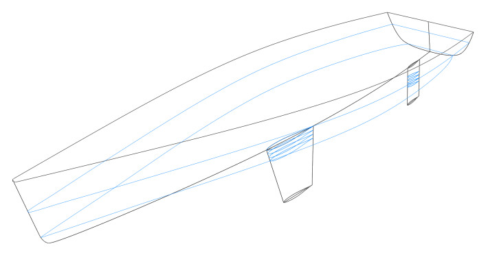 Sailing yacht hull - 3D model with waterlines