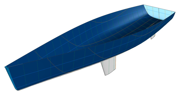 Sailing yacht hull - 3D model with sections, buttocks, and waterlines