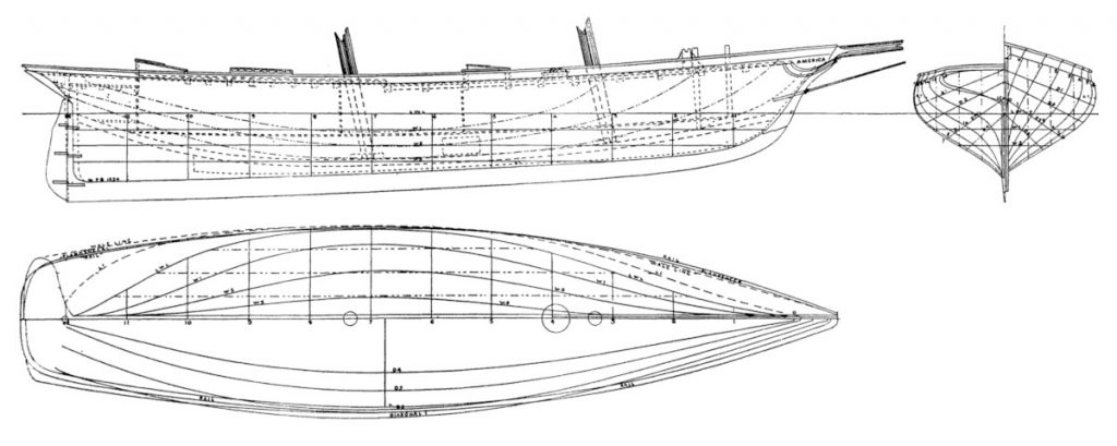 Schooner America lines drawing 1851