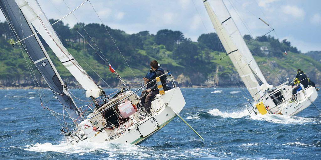 Group of sailing yachts at race