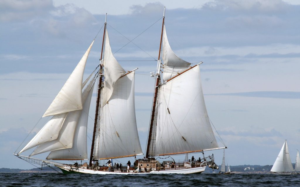 Schooner sails over the ocean waves in the bay near a harbor.