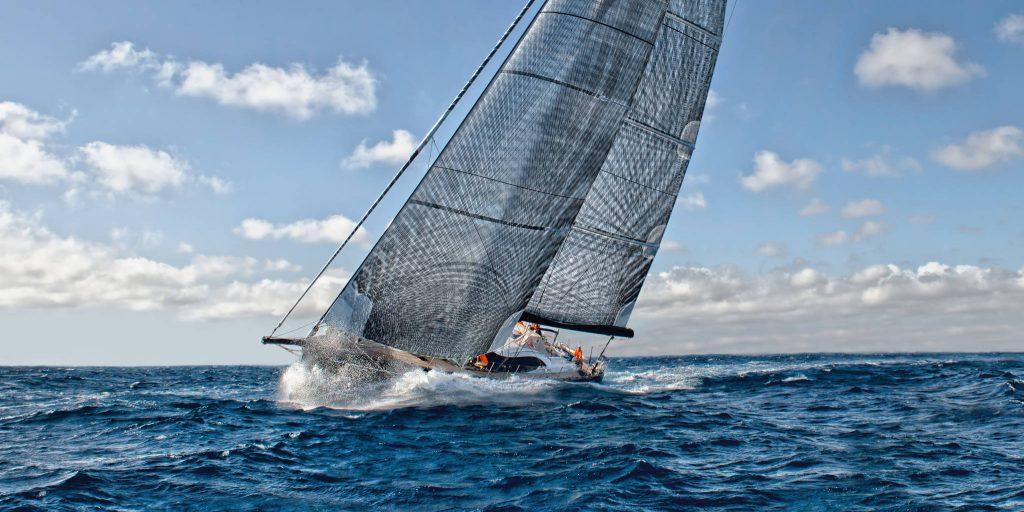 Sailing yacht reaching