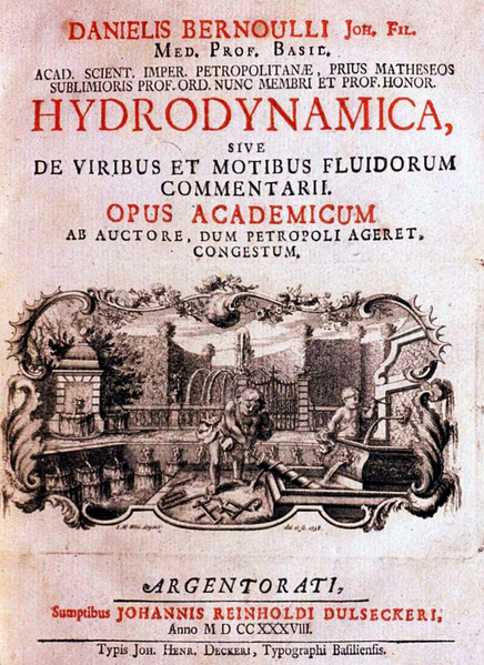 Frontpage of Daniel Bernoulli's Hydrodynamica