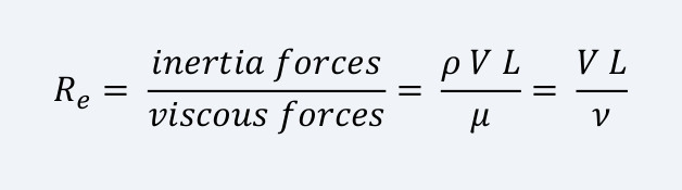 The Reynolds number: ratio of inertia forces to viscous (friction) forces involved in the flow.